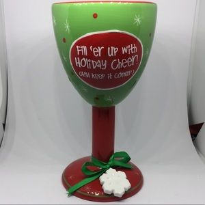 """RUSS WINE GOBLET """"Fill 'er up with Holiday Cheer"""""""